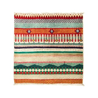 """Striped Hand Knotted Area Rug - 2'1"""" X 2'1"""""""