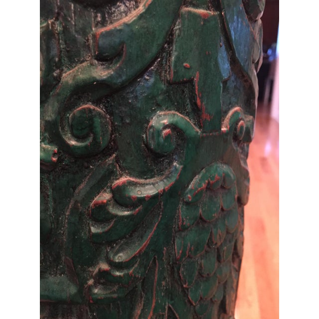 Image of Monumental Table Lamp with Carved Detail