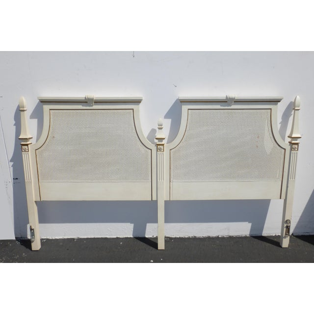 French Provincial White & Gold Cane Headboard - Image 2 of 11