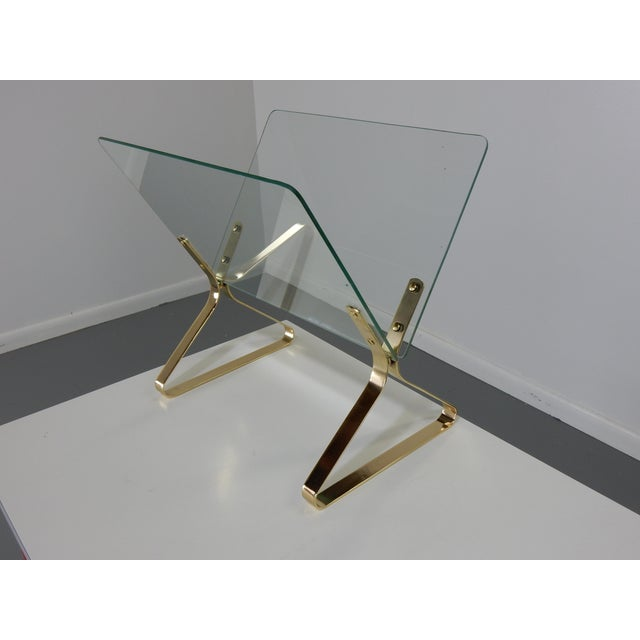 Milo Baughman Glass and Brass Magazine Rack - Image 3 of 8