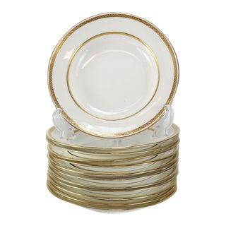 1900s Minton for Tiffany & Co. Porcelain Gold Band Rimmed Soup Bowl - Set of 12