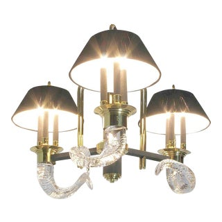 Art Deco Revival Chandelier With Crystal Rams' Horns