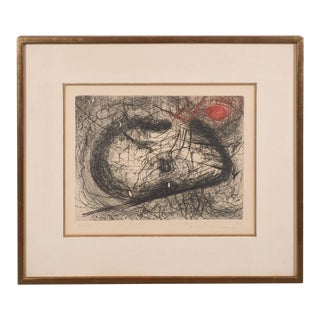 "Modern Abstract Expressionist Print, ""Le Mandarin"" Scribbles in Black and Red"
