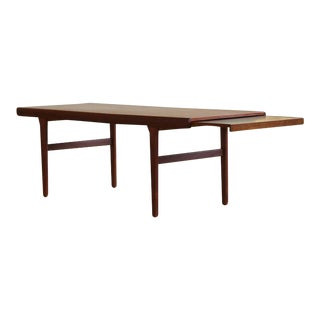 Johannes Andersen Teak Coffee Table with Extending Slide Out Tray