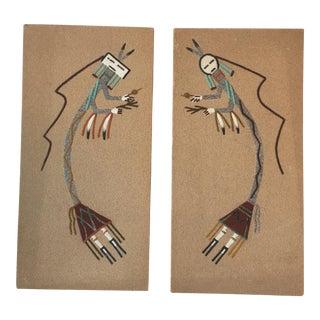 Navajo Sand Painting Wall Art - A Pair