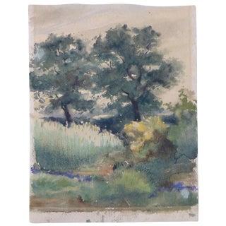 1920s Antique German Watercolor Landscape Painting