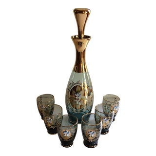 Vintage Gold & Blue Bohemian Decanter and 6 Glasses Set