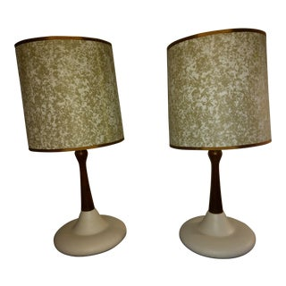 Mid-Century Modern Ceramic & Wood Table Lamps - A Pair
