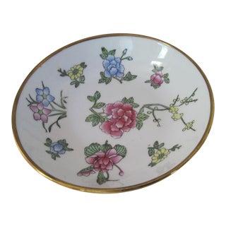 Brass & Porcelain Flower Catchall