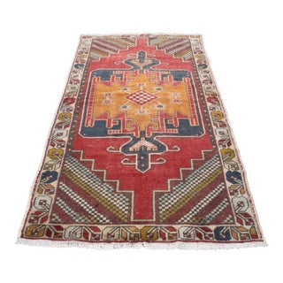 Vintage Tribal Handmade Turkish Anatolian Carpet - 4′2″ × 8′