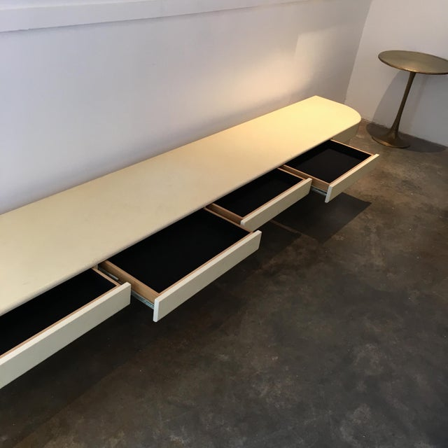 Ron Seff Lacquered Goatskin Floating Buffet with Velvet Lined Silver Drawers - Image 3 of 7