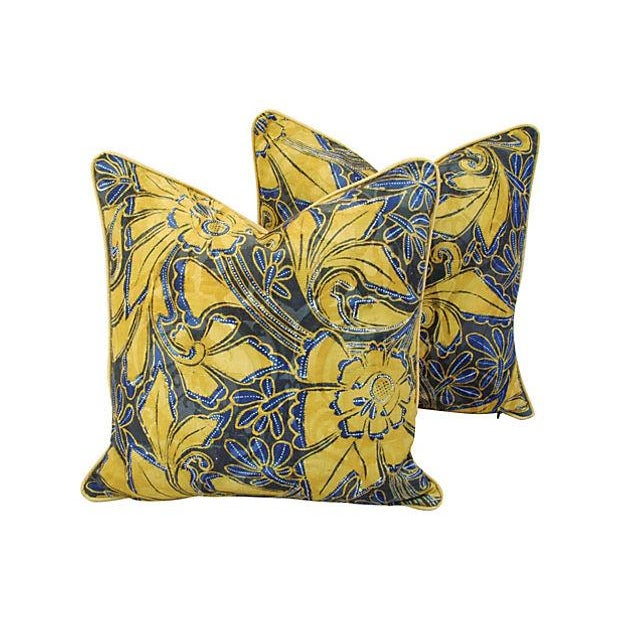 Scalamandre Blue & Gold Silk Pillows - A Pair - Image 1 of 7