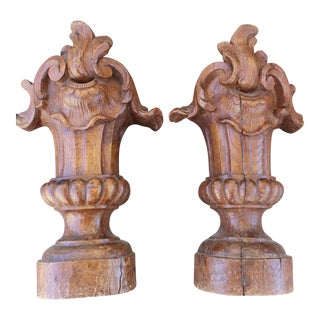 17th C. French Wood Antique Ornaments - Pair