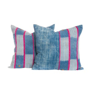 Vintage Indigo Ikat Pillows - A Pair