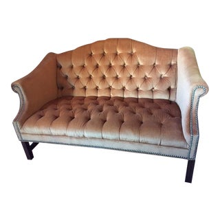 Kimball Furniture Chesterfield Velvet Camelback Settee