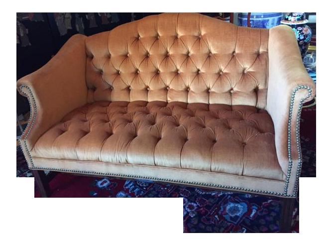 kimball furniture velvet camelback settee