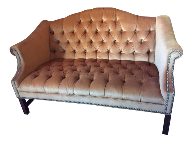 Kimball Furniture Chesterfield Velvet Camelback Settee   Image 1 Of 7