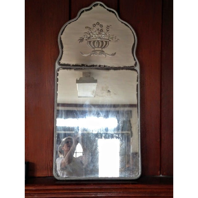 Large Vintage Etched Wall Mirror - Image 2 of 11