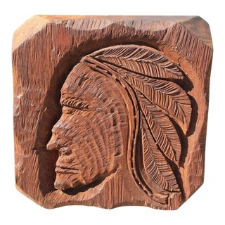 Mid-Century Monumental Hand-Carved Indian Chief Carving