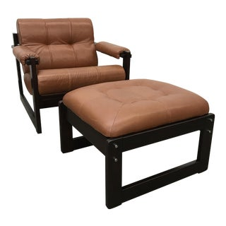 Percival Lafer Leather Lounge Chair & Ottoman