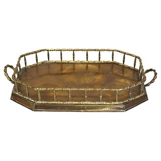 Brass Bamboo-Style Handled Tray