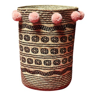 Borneo Drum Tribal Straw Basket with Blush Pink Pom-poms