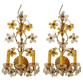 Wall Lights with Crystal Flowers - A Pair
