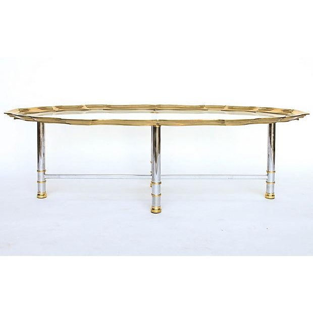 Image of Coffee Table with Scalloped Brass Edge