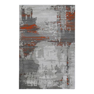 Abstract Art Orange Rug - 5'3''x 7'7''