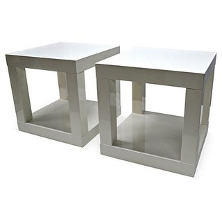 White Cubic Side Tables - Pair