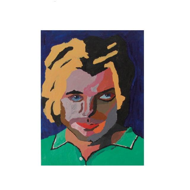 Vintage Pop Art Original Painting of a Man - Image 1 of 3
