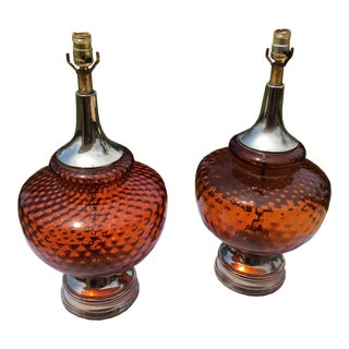 Mid Century Amber Lamps - a Pair