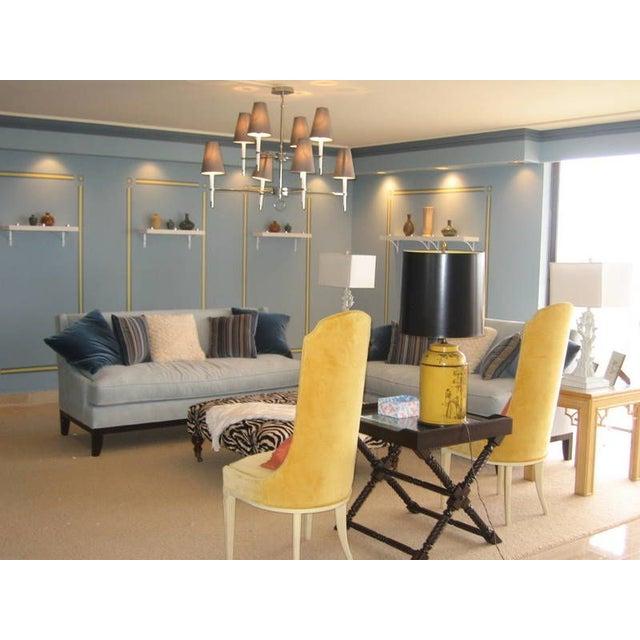 Blue Microfiber Sofa - Image 3 of 5