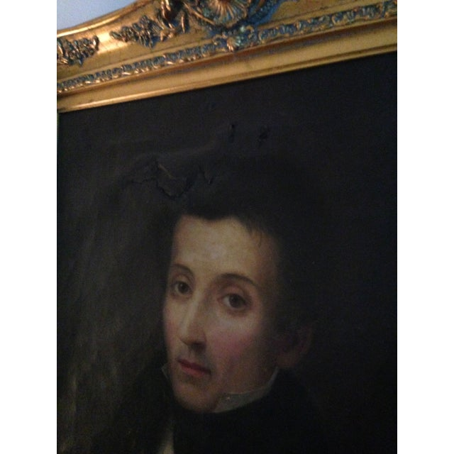 1800s Oil Portrait Painting With Gold Frame - Image 4 of 8