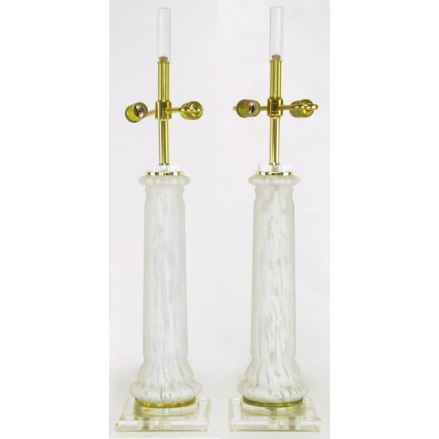 Pair Lucite, Murano Glass, And Brass Table Lamps - Image 2 of 5