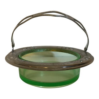 Green Vaseline Glass Bowl with Rim and Handle