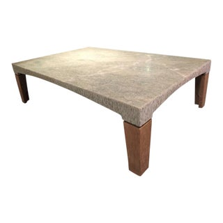 Green Granite Coffee Table With Wood Legs