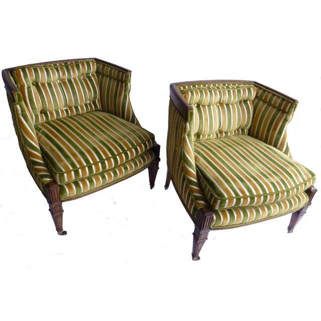 Image of Mid-Century Green & Gold Club Chairs - A Pair
