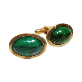 Green Glass Goldtone Cuff Links