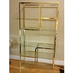 Image of Hollywood Regency Glass & Brass Etagere