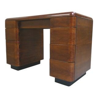 1940s Art Deco Rosewood Veneer Desk by Paul Goldman