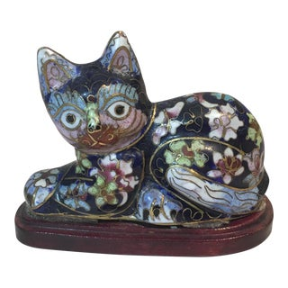 Vintage Chinese Cloisonné Enameled Cat