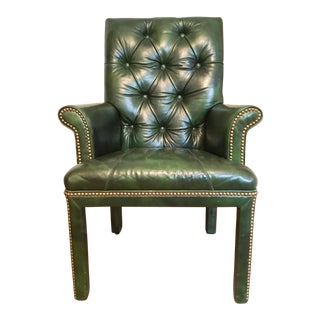 MT Company Emerald Green Leather Armchair