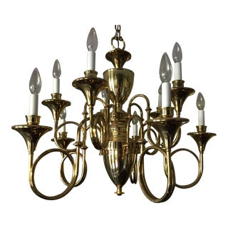Brass Fox Hunt Horn Chandelier