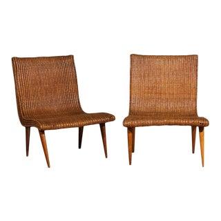 Stellar Pair of Vintage Modern Wicker Slipper Loungers