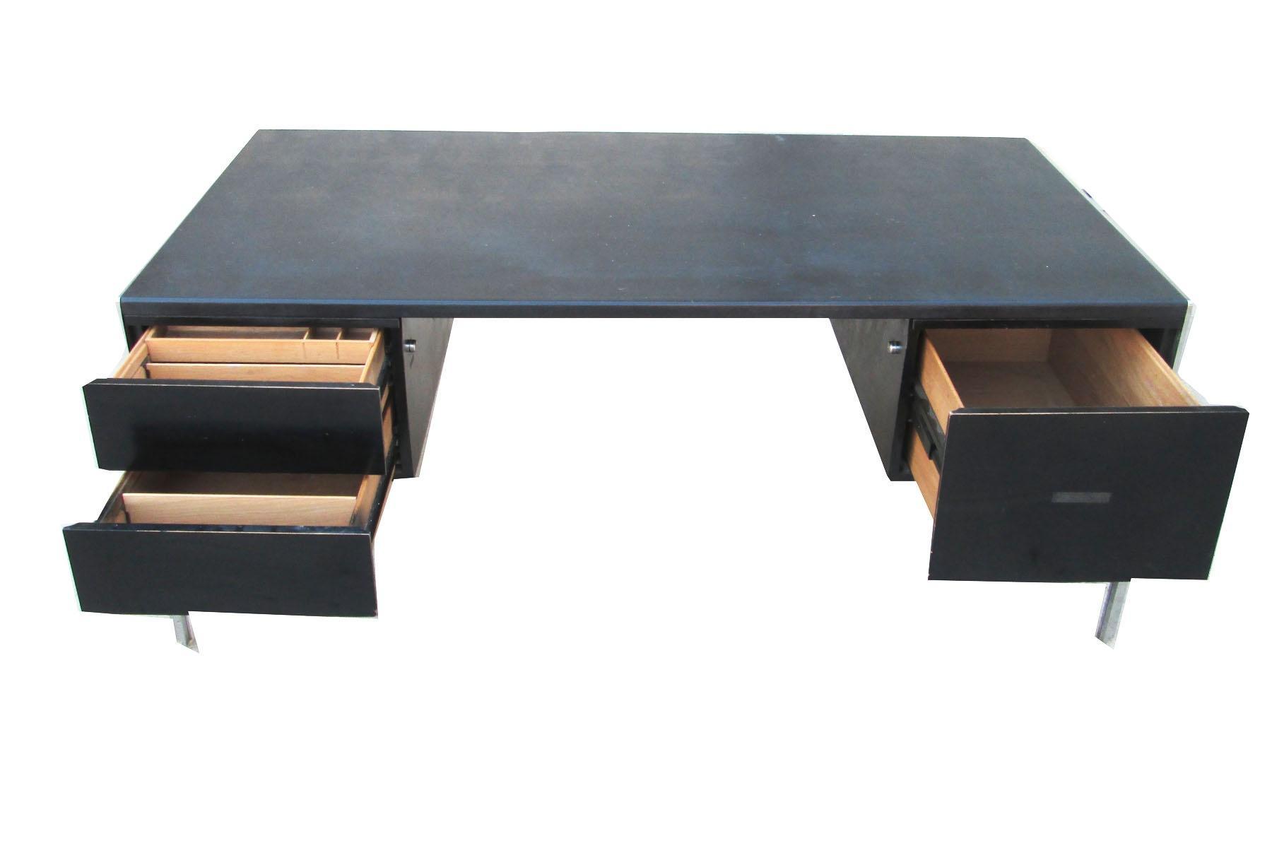 Stow Amp Davis Chrome Minimalist Executive Desk Chairish