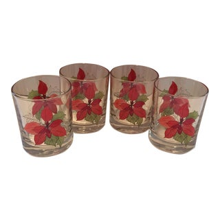Vintage Crystal Portuguese Poinsettia Low Ball Glasses - Set of 4