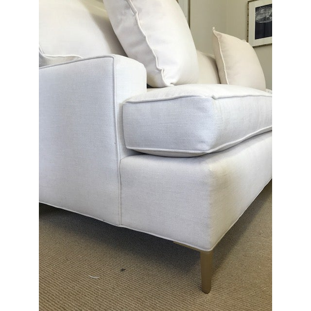 """Ivory Crypton Home Upholstered """"Tribeca Sofa"""" With Brass Legs - Image 3 of 4"""
