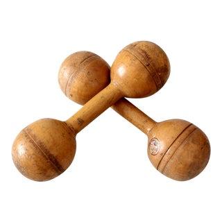 Narragansett Antique Wooden Dumbbell Weights- A Pair