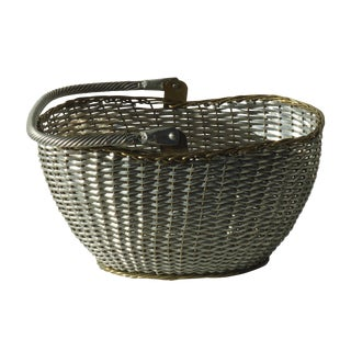 Vintage Silver and Brass Metal Basket